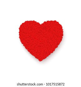 Red Heart. Colorful Heart frame. Romance Valentines day illustration isolated on white background