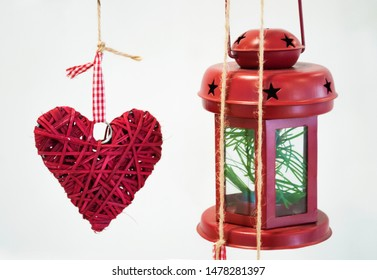 Red heart and decorative lantern