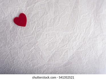 red heart felt kraft paper. valentine's day texture. love card