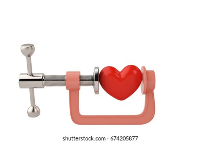 Red heart in G clamp on white background 3D illustration