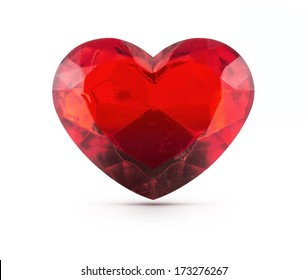 Red heart gemstone on isolated background