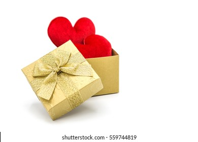Red heart in a gift box, Valentine's Day concept on white background