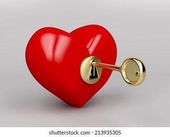 Red heart with gold key and keyhole