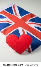 Red heart with Great Britain national flag.