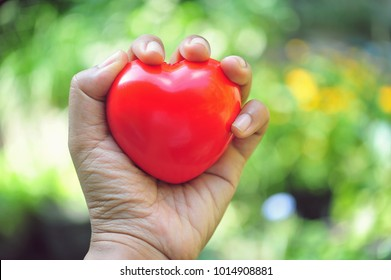 Red heart in hand.