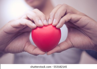 red heart in hands love concept valentine day.
