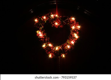 Red Heart illuminated by Led Light in Darkness Useful for Valentine's Day