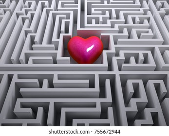 red heart in the labyrinth maze, 3d illustration