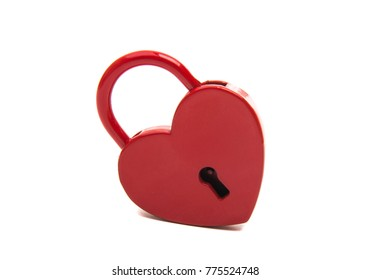 red heart lock isolated on white background