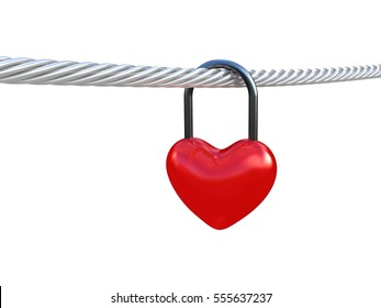 Red heart lock on white background. 3D illustration