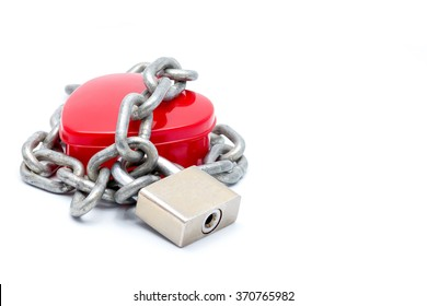 red heart locked chain with locked padlock : love concept