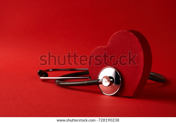 Red Heart Medical Stethoscope Isolated On Stock Photo (Edit