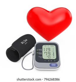 Red Heart near Modern Digital Blood Pressure Measurement Monitor Equipment on a white background. 3d Rendering