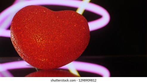 Red Heart on black background