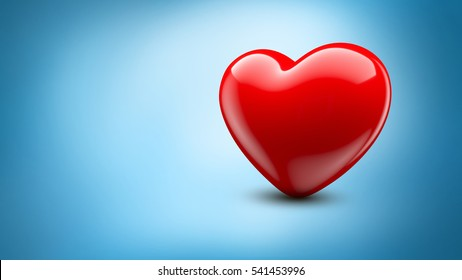 Red heart on blue background. 3D Illustration