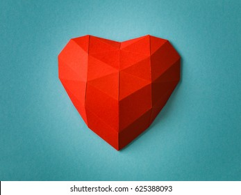 red heart on blue ice papercraft concept