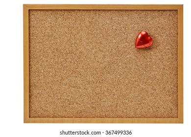 red heart on corkboard, Valentine day.