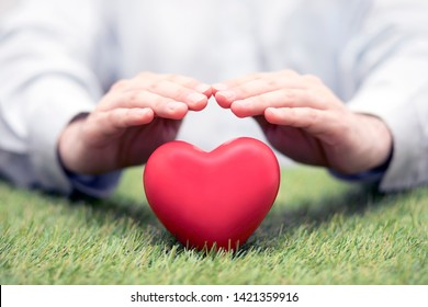 Red heart on green grass covered by hands. Health insurance or love concept