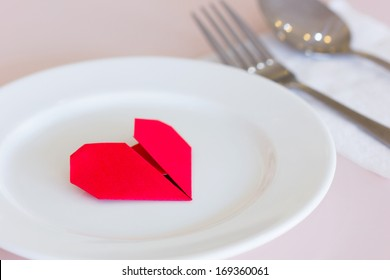 Red heart on a plate, fork and knife, valentine's paper hearts , valentine's day , day valentine