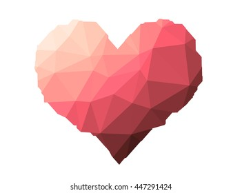 red heart on triangles low poly