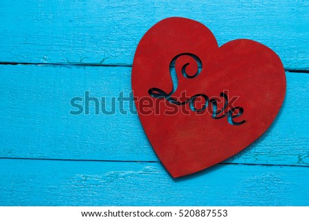 Red Heart On Turquoise Background Love Stock Photo Edit Now