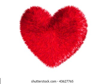 Red heart on white background (Valentine day)