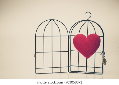 A red heart in opened bird cage / Love and freedom concept
