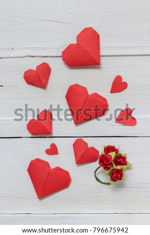 Red Heart Origami Ring Made Rose Stock Photo Edit Now 796675942