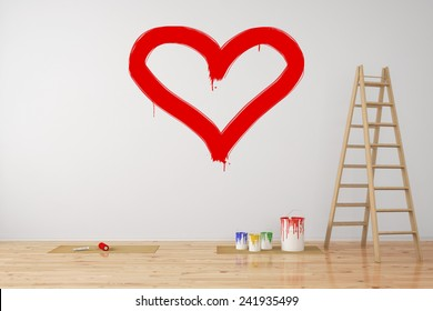 Red heart painted on a wall as symbol for love during renovation (3D Rendering)