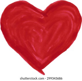 A red heart, painted with watercolors