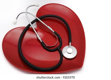 Red heart plate and stethoscope