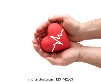 Red heart with pulse in man's hands.