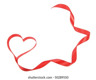 red heart ribbon bow  isolated on white background with space