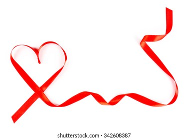 Red heart ribbon isolated on white