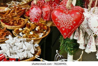 Red heart shape bell for House Decoration at shop in Salzburg christmas market Austria