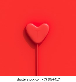 Red heart shape candy on Red background. minimal love concept.