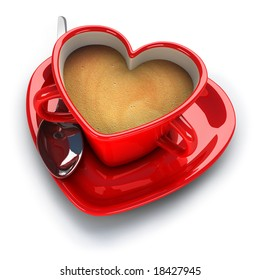 Red heart shaped coffee cup