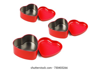 Red Heart Shaped Metal Containers Arranged on White Background