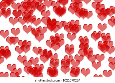 RED heart shapes drawn on a white colored background. Valentine's day concept.