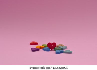 Red heart smile in pink background. Valentine's concetp, space for add text