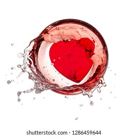 Red heart splash in a glass with rose champagne, top view
