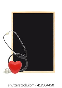 Red Heart Stethoscope Blank Blackboard Isolated on white background