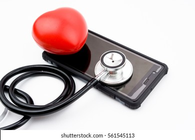Red heart, stethoscope on smartphone or handphone, health medical technology concepts