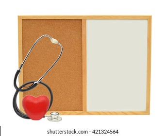 Red Heart Stethoscope Whiteboard Cork board isolated on white background