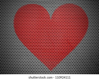 Red Heart symbol painted on metall grill  metall grill