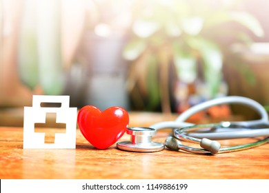 red heart symbol set with box medical model and stethoscope for concept health care and insurance