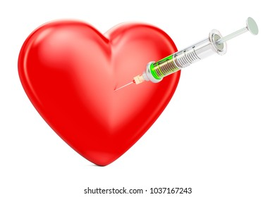 Red heart with syringe concept, 3D rendering isolated on white background