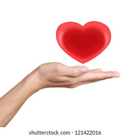 Red heart in woman hand. Love and heath symbol isolated on white background