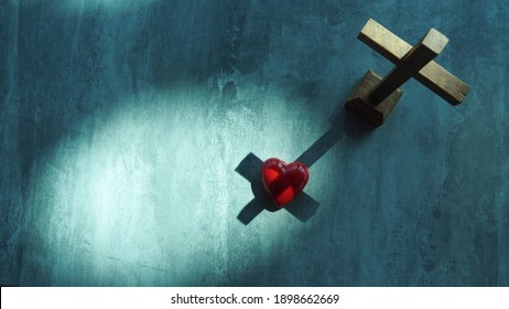 Red heart with wood crucifix on grey marble. Concept Jesus loves you, Jesus crucify himself on cross with love. Forgiving sin , God's love, Easter time , Faith God. Christianity background. - Shutterstock ID 1898662669