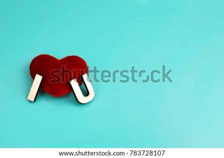 Red Heart Word Love Against Turquoise Stock Photo Edit Now